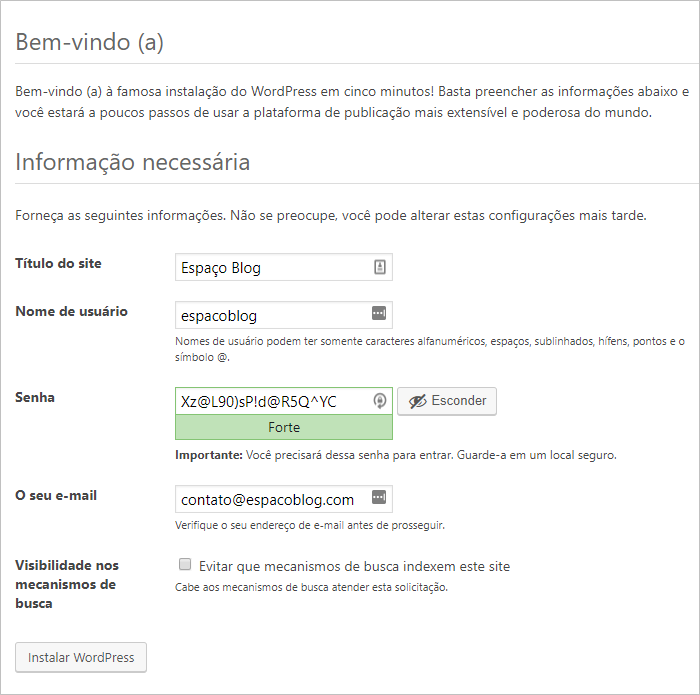 instalacao wordpress portugues